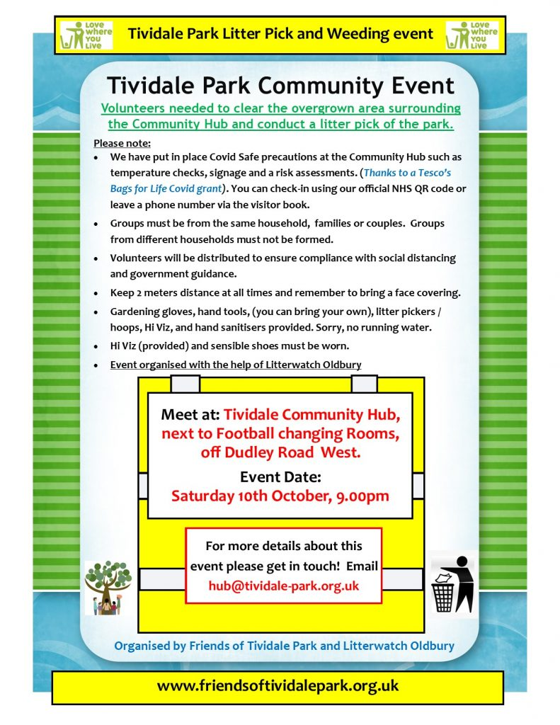 Tividale Park Litter Pick event 2020